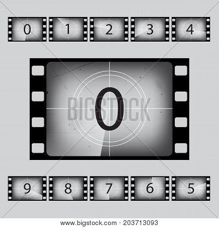 Movie retro countdown numbers set. Vector illustration.