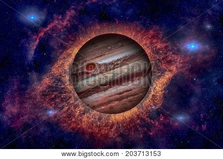 Planet Jupiter. Nebula On The Background.