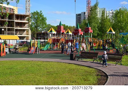 Khimki, Russia - May 30.2017. Childrens play complex in a park Eco shore