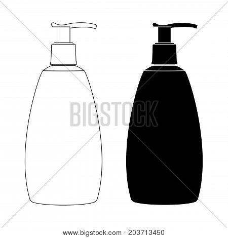 Soap dispenser. Sink pump bottle. Black and white icons. Vector illustration isolated on white background