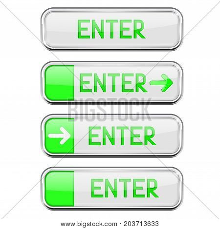 Green Enter buttons with chrome frame. Web rectangle button. Vector 3d illustration isolated on white background