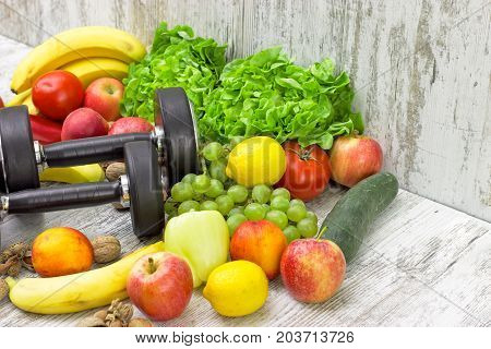 Healthy diet and sports activity to a healthy life - concept of health