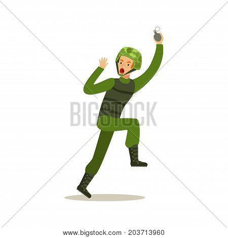 Infantry troops soldier character in camouflage combat uniform running with hand grenade vector Illustration on a white background
