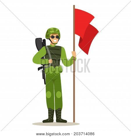 Infantry troops soldier character in camouflage combat uniform standing with red flag vector Illustration on a white background