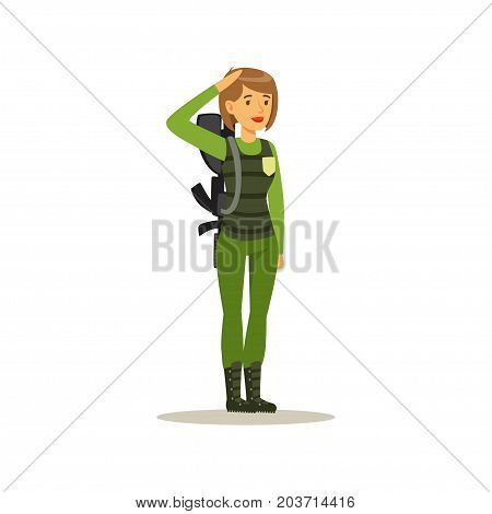 Female soldier character in camouflage combat uniform doing a hand salute vector Illustration on a white background