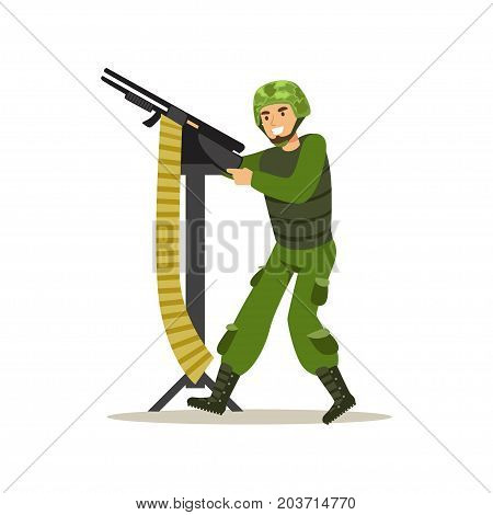 Infantry troops soldier character in camouflage combat uniform shooting from machine gun vector Illustration on a white background
