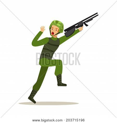 Infantry troops soldier character in camouflage combat uniform running with assault rifle vector Illustration on a white background