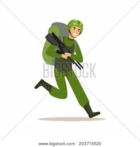 Infantry troops soldier character in camouflage combat uniform and backpack running with weapon vector Illustration on a white background