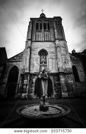 MAASTRICHT NETHERLANDS - JANUARY 09 2015: The Gothic church of Saint Matthias. Black and white. Vignetting. Maastricht is the oldest city of the Netherlands and the capital city of the province of Limburg.