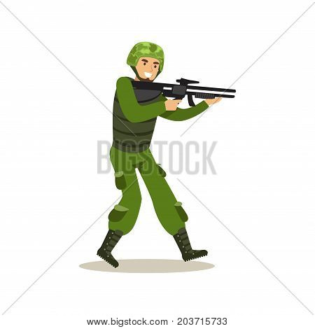 Infantry troops soldier character in camouflage combat uniform ready to shoot vector Illustration on a white background
