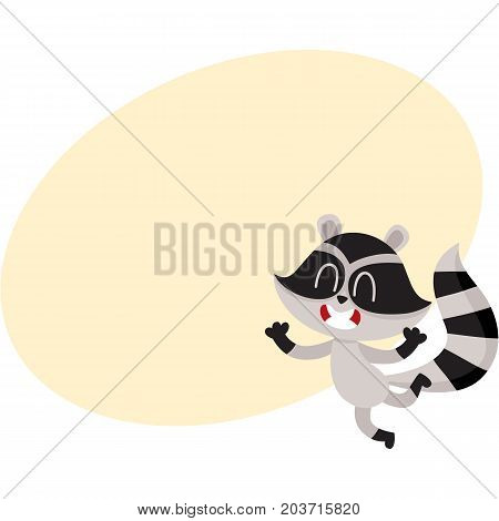 Cute little raccoon character jumping from happiness and delight, cartoon vector illustration with space for text. Happy and excited little raccoon jumping with pleasure and delight