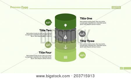 Four cylinders percentage chart. Business data. Comparison, diagram, design. Creative concept for infographic, templates, presentation. Can be used for topics like analysis, statistics, production.