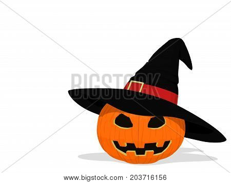 Isolated Jack-o'-lantern wear the witch's hat on transparent background
