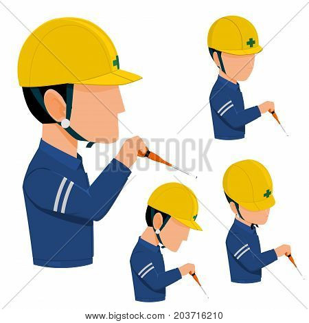 Set of isolated worker is using screw driver