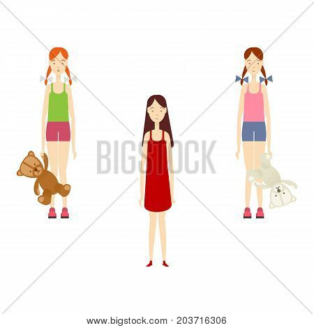 vector flat beautiful young girl in casual summer clothing set. Isolated illustration on a white background. Long hair women full lenght portrait. Family character cartoon concept.