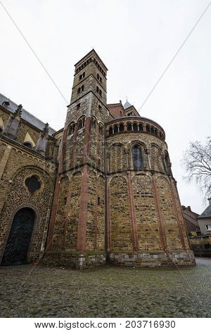 MAASTRICHT NETHERLANDS - JANUARY 09 2015: Vrijthof square. Basilica of Saint Servatius. Maastricht is the oldest city of the Netherlands and the capital city of the province of Limburg.