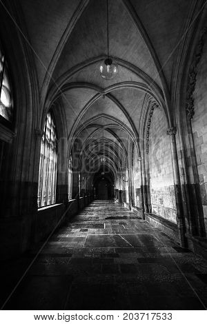MAASTRICHT NETHERLANDS - JANUARY 09 2015: Interior of Basilica of St. Servatius. Black and white. The Basilica of St. Servatius is a oldest Roman catholic church the Netherlands.