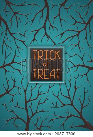Dark blue halloween background with text. Scary branches in twilight. Vector horror frame with space for invitation