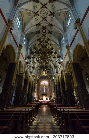 MAASTRICHT NETHERLANDS - JANUARY 09 2015: Interior of Basilica of St. Servatius. The Basilica of St. Servatius is a oldest Roman catholic church the Netherlands.
