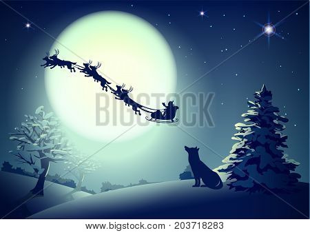 Santa in night sky against background of full moon. Dog silhouette looks up at sky. Christmas greeting card template. Vector cartoon illustration