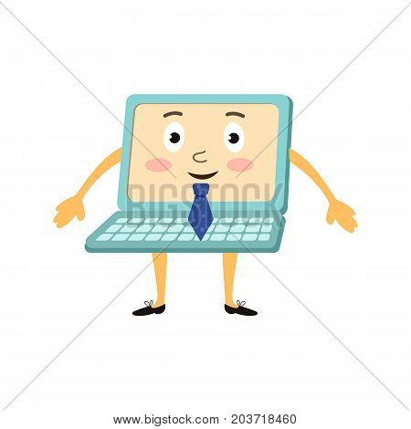 vector flat cartoon cheerful funny laptop humanized character with arms, legs and face wearing shoes, blue necktie smiling. Isolated illustration on a white background.