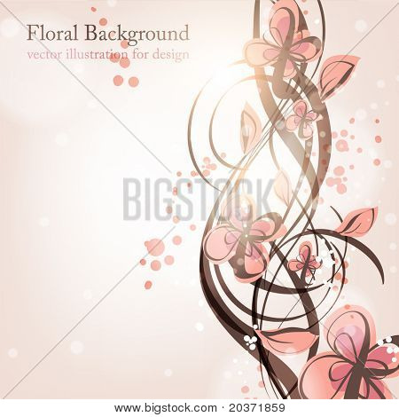 Hand Drawn floral background with flowers, greeting vector card for retro design. eps 10.