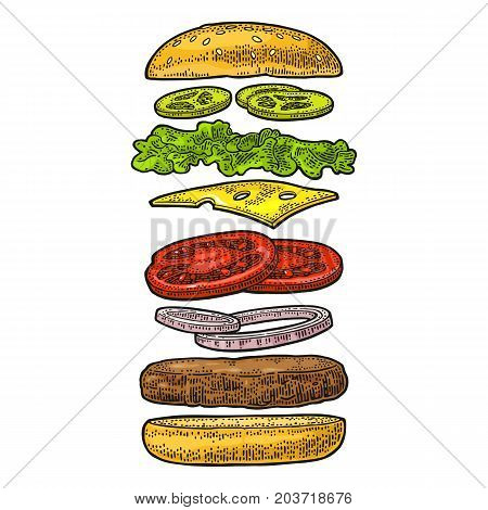Burger with flying ingredients include bun tomato salad cheese onion cucumber. Vector color vintage engraving Illustration isolated on white background. For vertical poster menu banner