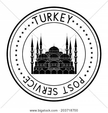 Turkey postmark with the Blue Mosque. Vector illustration