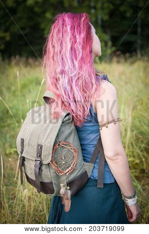 Redhair Woman With Linen Backpack Bag. Template Mock Up