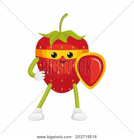 vector flat cartoon strawberry character in yellow mask standing with red shield. Isolated illustration on a white background. Funny humanized fruit and vegetable super hero protecting people's health