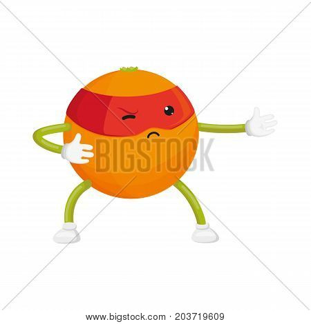 vector flat cartoon orange character in red mask standing like ninja. Isolated illustration on a white background. Funny humanized fruit and vegetable super hero protecting people's health