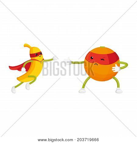 vector flat orange, banana characters in masks standing like ninja, dashing like superman set. Isolated illustration on a white background. Funny fruit and vegetable hero protecting people's health