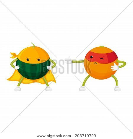 vector flat orange, watermelo characters in masks standing like ninja, dashing like superman set. Isolated illustration on a white background. Funny fruit and vegetable hero protecting people's health