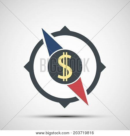 Compass icon with dollar sign. World stock exchange. Logo of business and money transfers. Stock vector graphics.