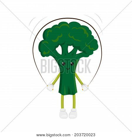 vector flat funny broccoli character jumping at rope. Cheerful humanized vegetable makes exercises with skipping rope. Isolated illustration on a white background. Healthy, sportive lifestyle concept