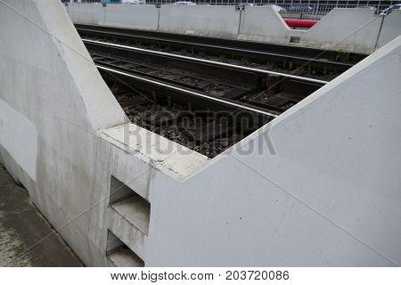 Detail Of A Rail On A Concrete Bridge