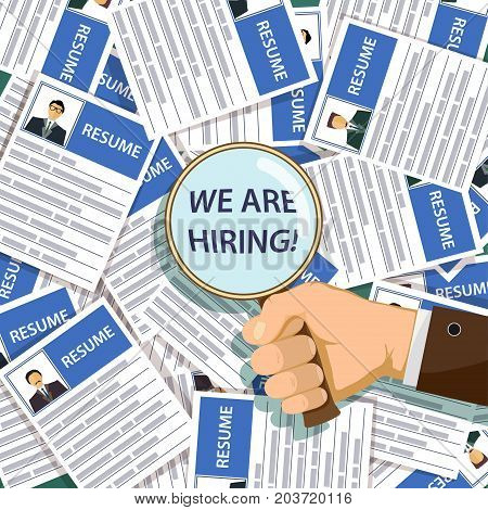Man Holds A Magnifying Glass With The Inscription We Are Hiring. Job Search And Unemployment. Stock