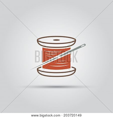 spool of thread and needle isolated vector colored icon