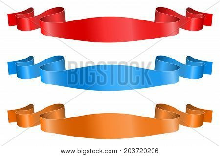 Ribbon banners. Shiny colored silk scrolls. Vector 3d illustration isolated on white background