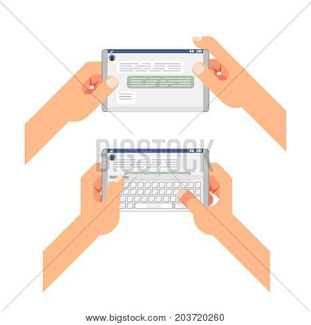 Accept reading type send message social messenger window chatting messaging mobile phone hands flat concept design vector illustration
