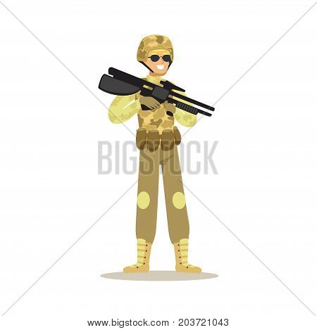 Soldier character wearing camouflage uniform holding automatic assault rifle vector Illustration on a white background