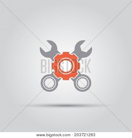 gear behind which two crossed wrenches isolated vector colored single icon
