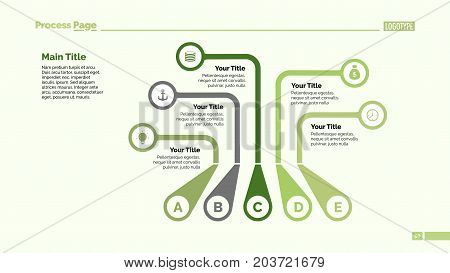 Five callouts process chart. Business data. Letter, diagram, design. Creative concept for infographic, templates, presentation. Can be used for topics like management, marketing, production.
