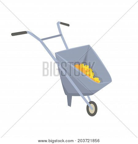Trolley with gold ore, mining industry concept cartoon vector Illustration on a white background