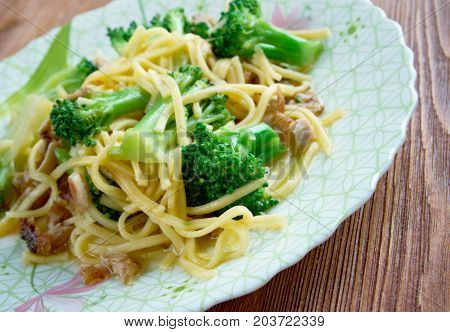 Crunchy Broccoli Salad with noodles chicken , close up meal