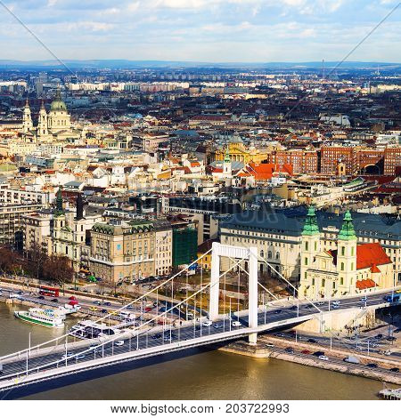 Budapest Hungary. Aerial view of Budapest Hungary with clouds. Liberty bridge and historical center of Budapest