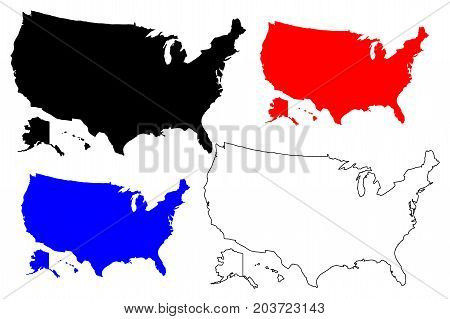 United States of America map vector illustration , scribble sketch USA