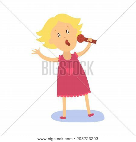 vector flat cartoon girl kid singing at microphone standing alone in pink dress with heart. Little vocal star female character. Isolated illustration on a white background. Kids party concept