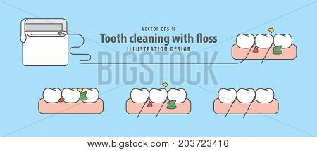 Tooth Cleaning With Floss Illustration Vector On Blue Background. Dental Concept.