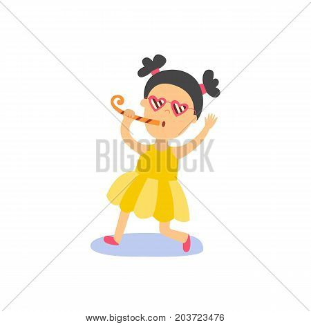 vector flat cartoon girl kid in funny heart glasses, yellow dress faving fun whistling. isolated illustration on a white background. Kids patty concept